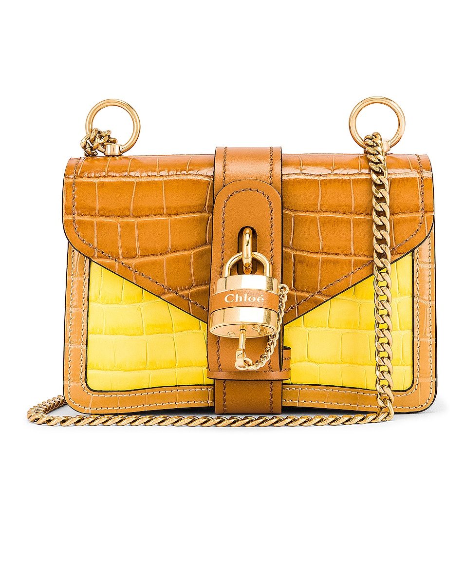 Image 1 of Chloe Mini Aby Chain Tricolor Embossed Croc Shoulder Bag in Joyful Yellow