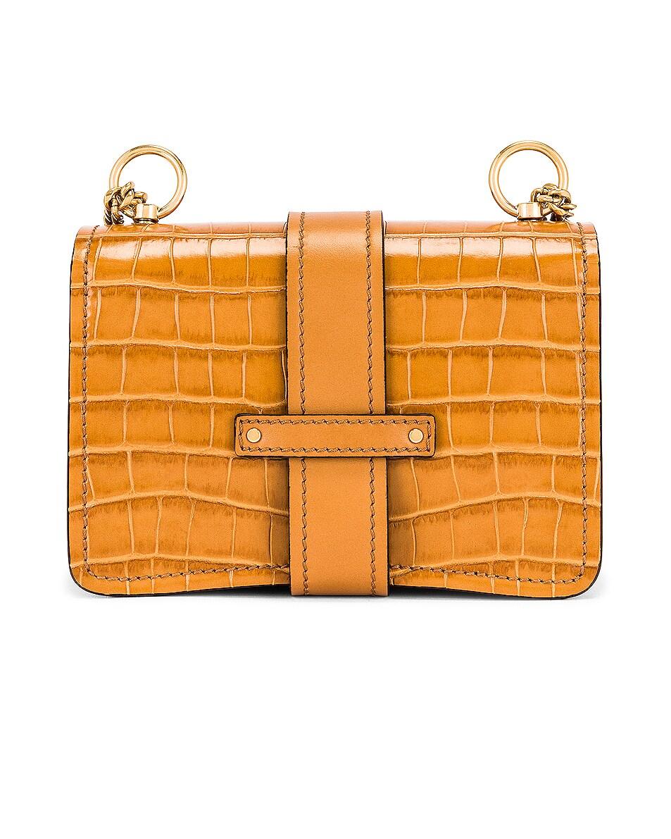 Image 2 of Chloe Mini Aby Chain Tricolor Embossed Croc Shoulder Bag in Joyful Yellow