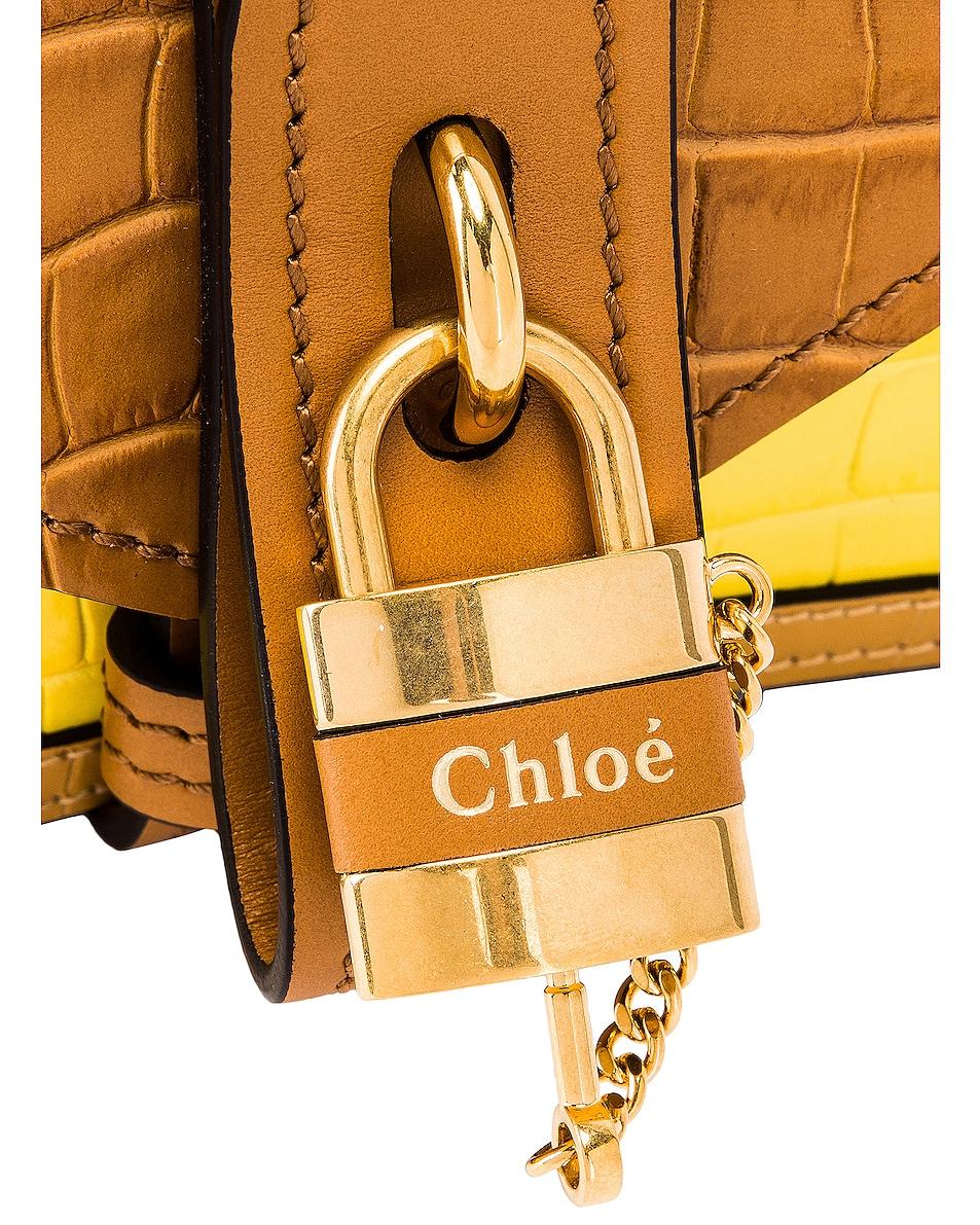 Image 7 of Chloe Mini Aby Chain Tricolor Embossed Croc Shoulder Bag in Joyful Yellow
