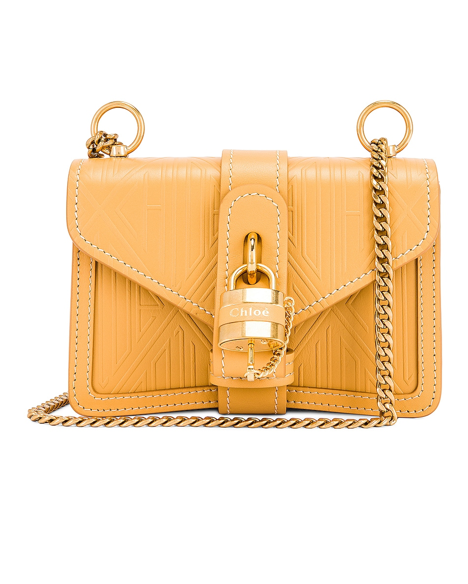 Image 1 of Chloe Mini Aby Chain Embossed Monogram Shoulder Bag in Honey Gold