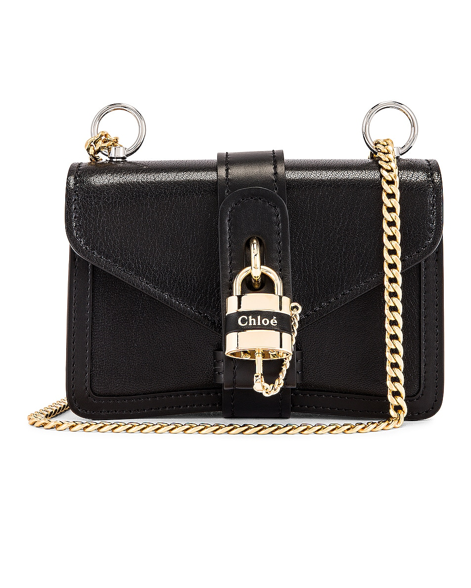 Image 1 of Chloe Mini Aby Chain Shoulder Bag in Black