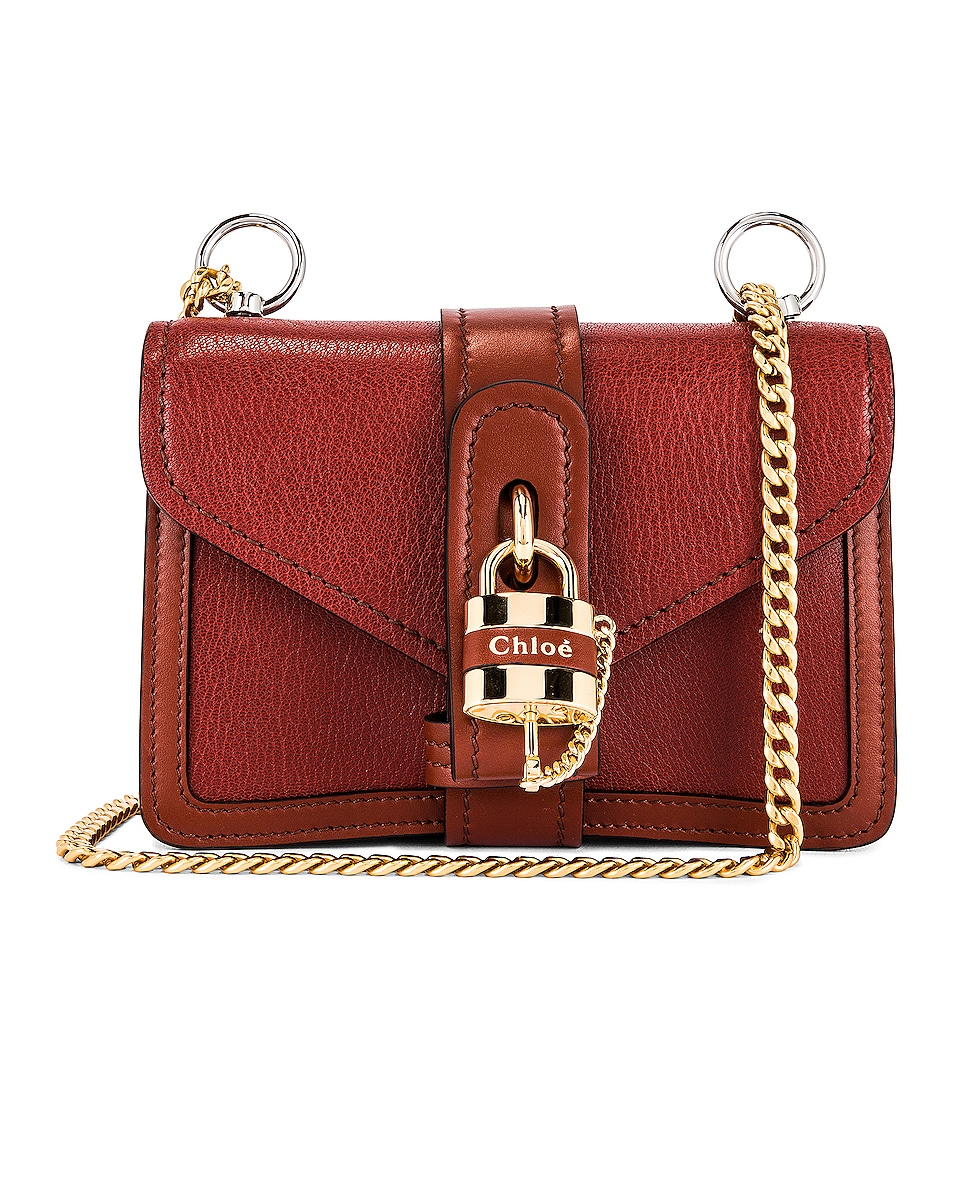 Image 1 of Chloe Mini Aby Chain Shoulder Bag in Sepia Brown