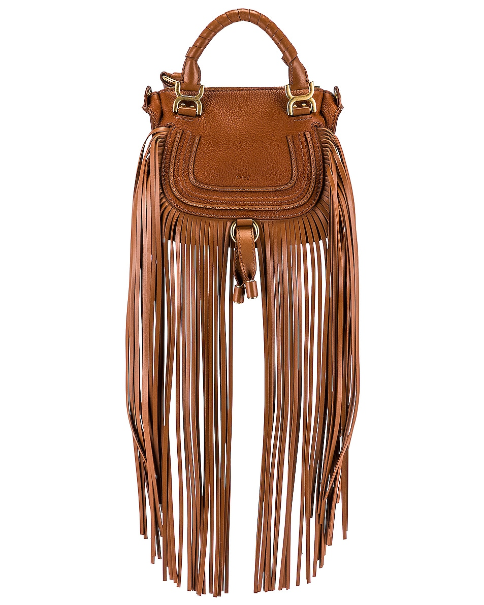 Image 1 of Chloe Mini Marcie Fringe Double Carry Bag in Tan