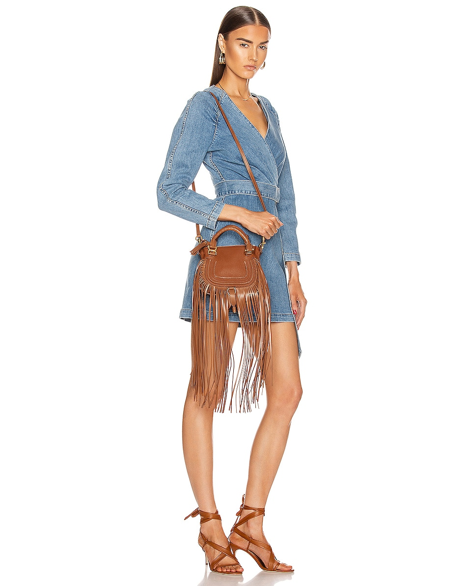 Image 2 of Chloe Mini Marcie Fringe Double Carry Bag in Tan