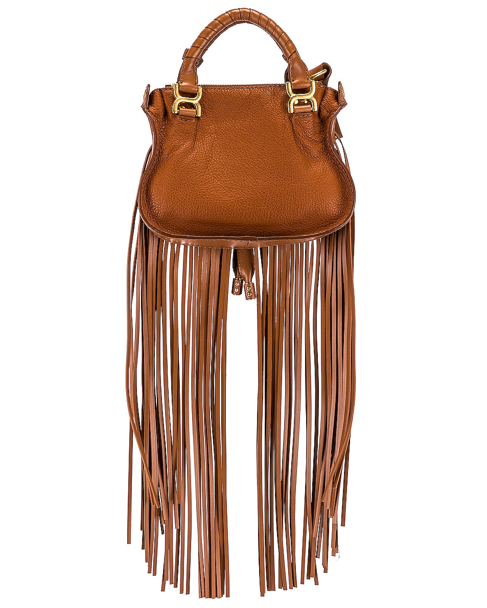 Image 3 of Chloe Mini Marcie Fringe Double Carry Bag in Tan