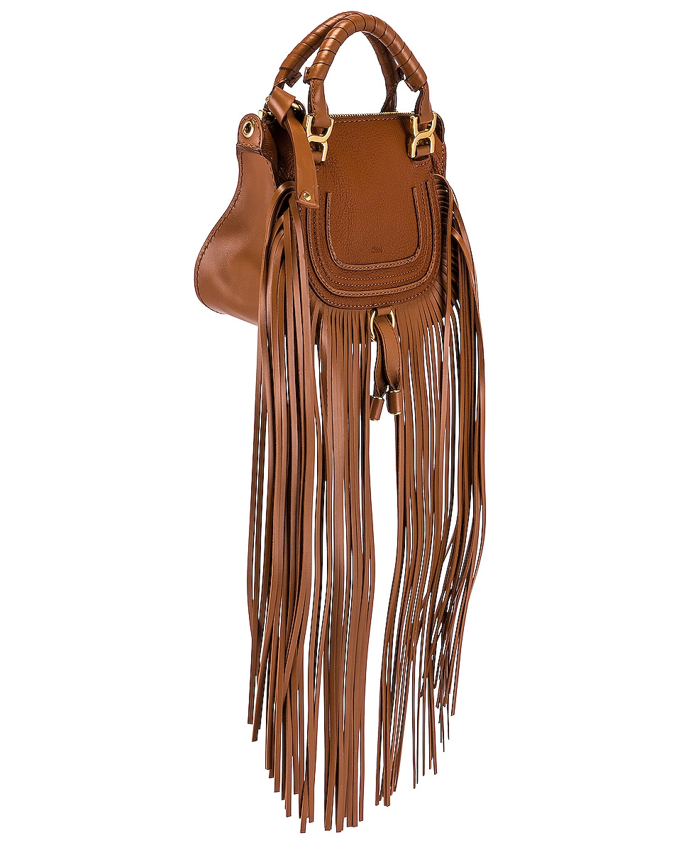 Image 4 of Chloe Mini Marcie Fringe Double Carry Bag in Tan