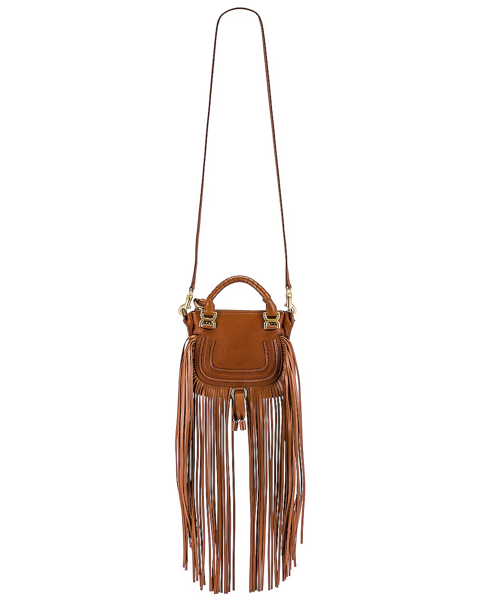 Image 6 of Chloe Mini Marcie Fringe Double Carry Bag in Tan