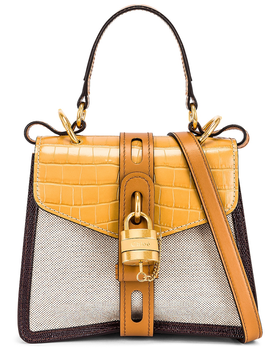 Image 1 of Chloe Small Aby Embossed Croc and Canvas Shoulder Bag in Honey Gold