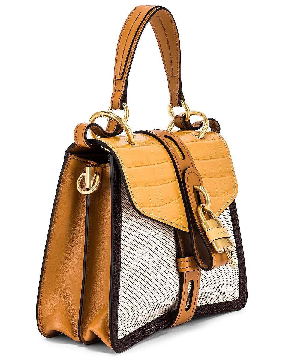 Image 4 of Chloe Small Aby Embossed Croc and Canvas Shoulder Bag in Honey Gold