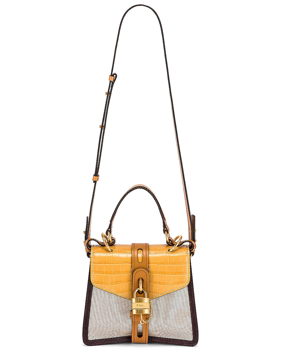 Image 6 of Chloe Small Aby Embossed Croc and Canvas Shoulder Bag in Honey Gold