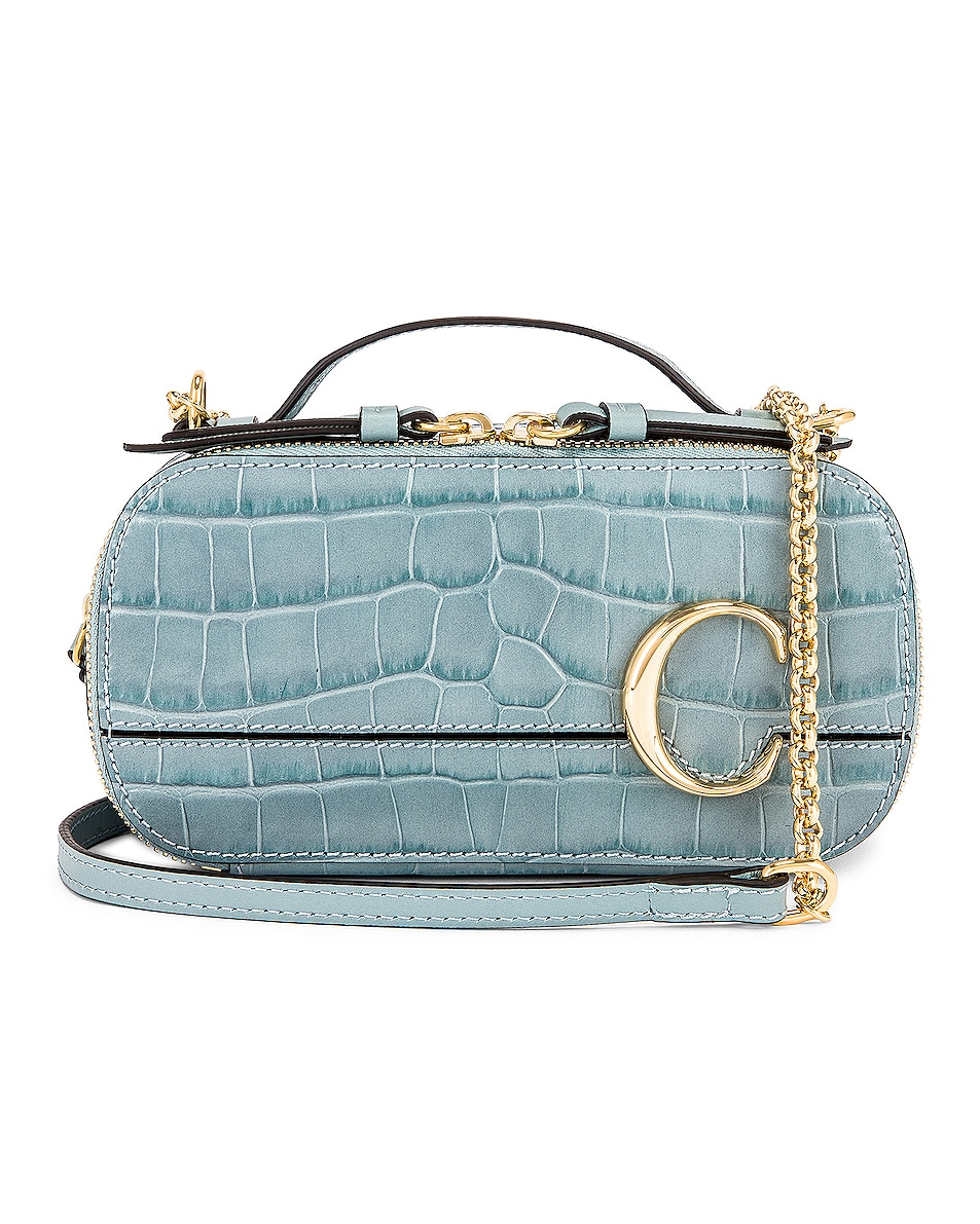Image 1 of Chloe Mini C Embossed Croc Vanity Bag in Faded Blue