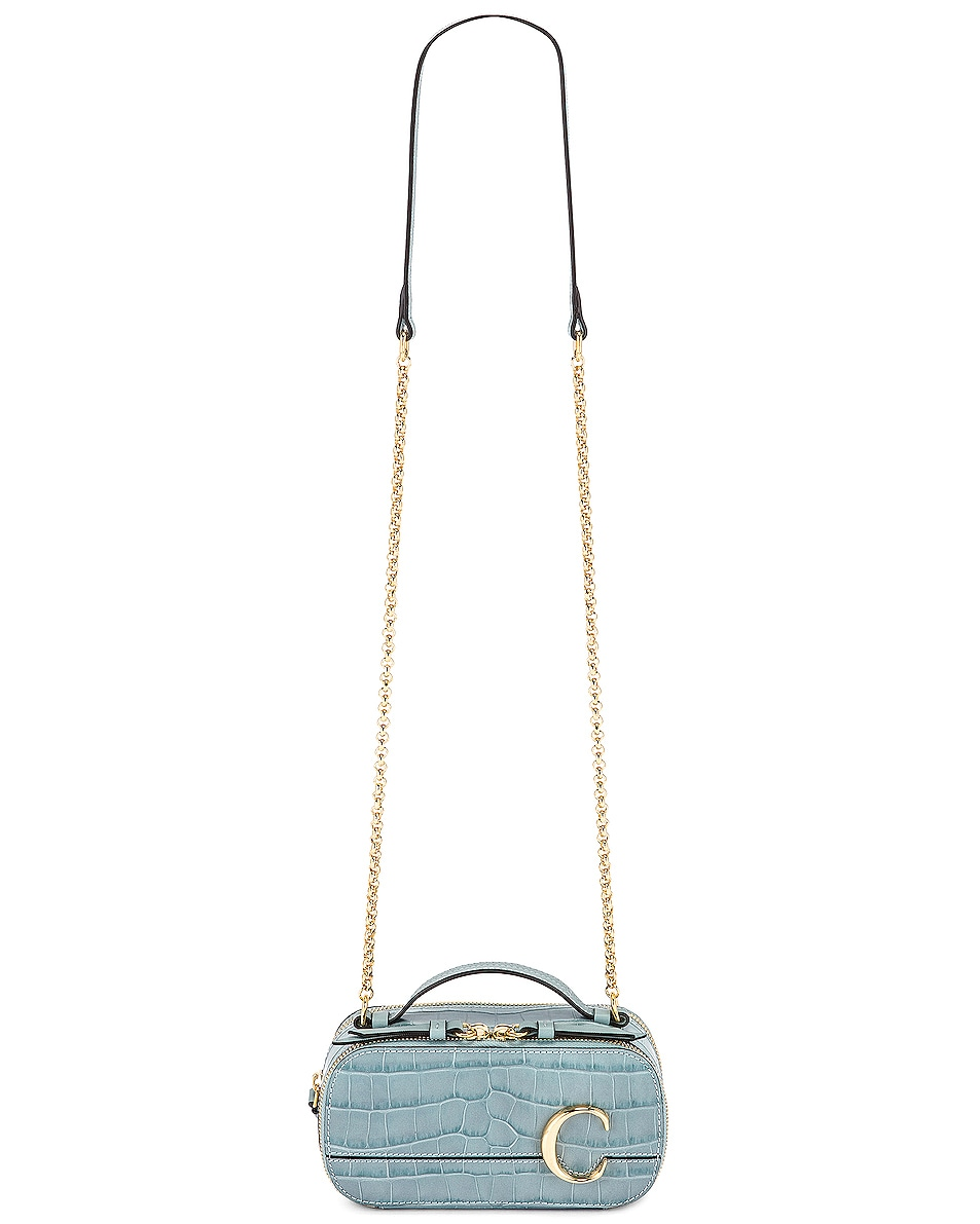 Image 6 of Chloe Mini C Embossed Croc Vanity Bag in Faded Blue
