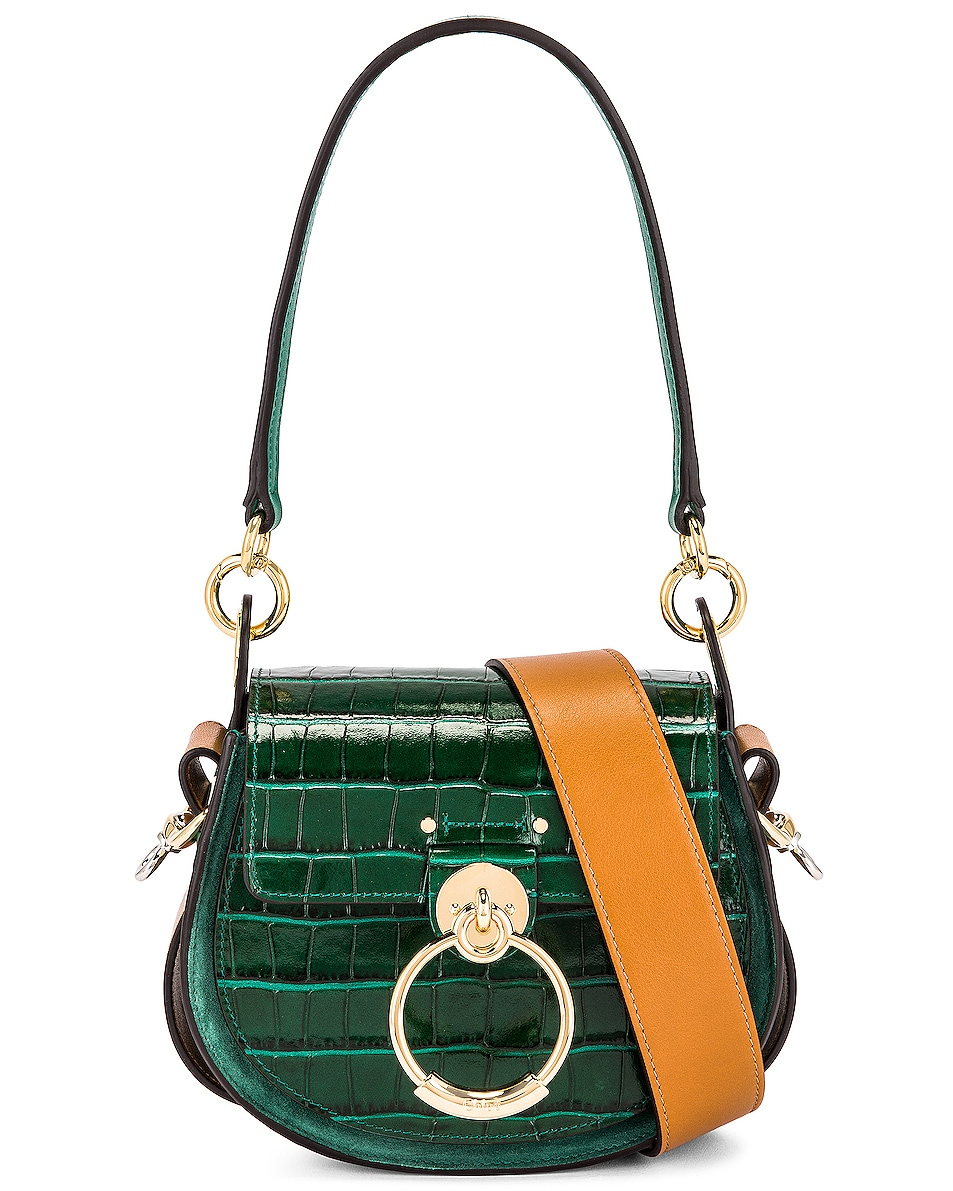 Image 1 of Chloe Small Tess Embossed Croc Shoulder Bag in Woodsy Green