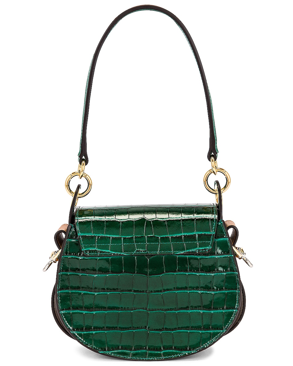 Image 3 of Chloe Small Tess Embossed Croc Shoulder Bag in Woodsy Green