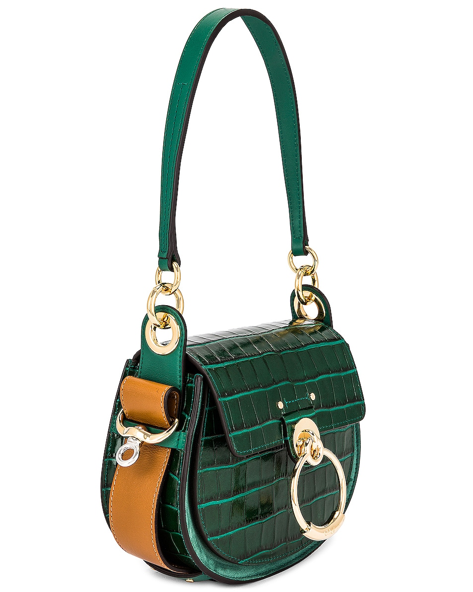 Image 4 of Chloe Small Tess Embossed Croc Shoulder Bag in Woodsy Green