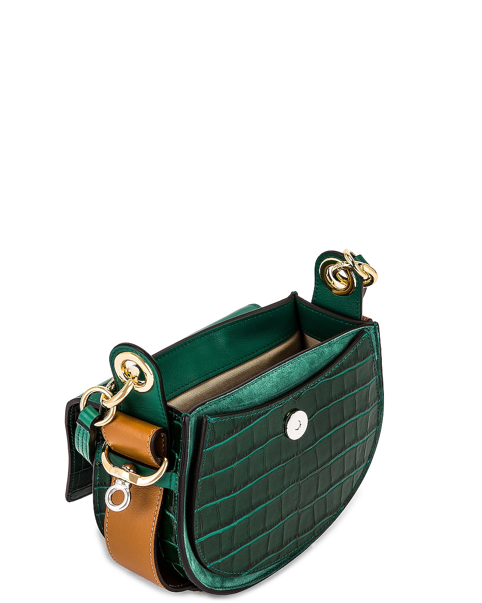 Image 5 of Chloe Small Tess Embossed Croc Shoulder Bag in Woodsy Green