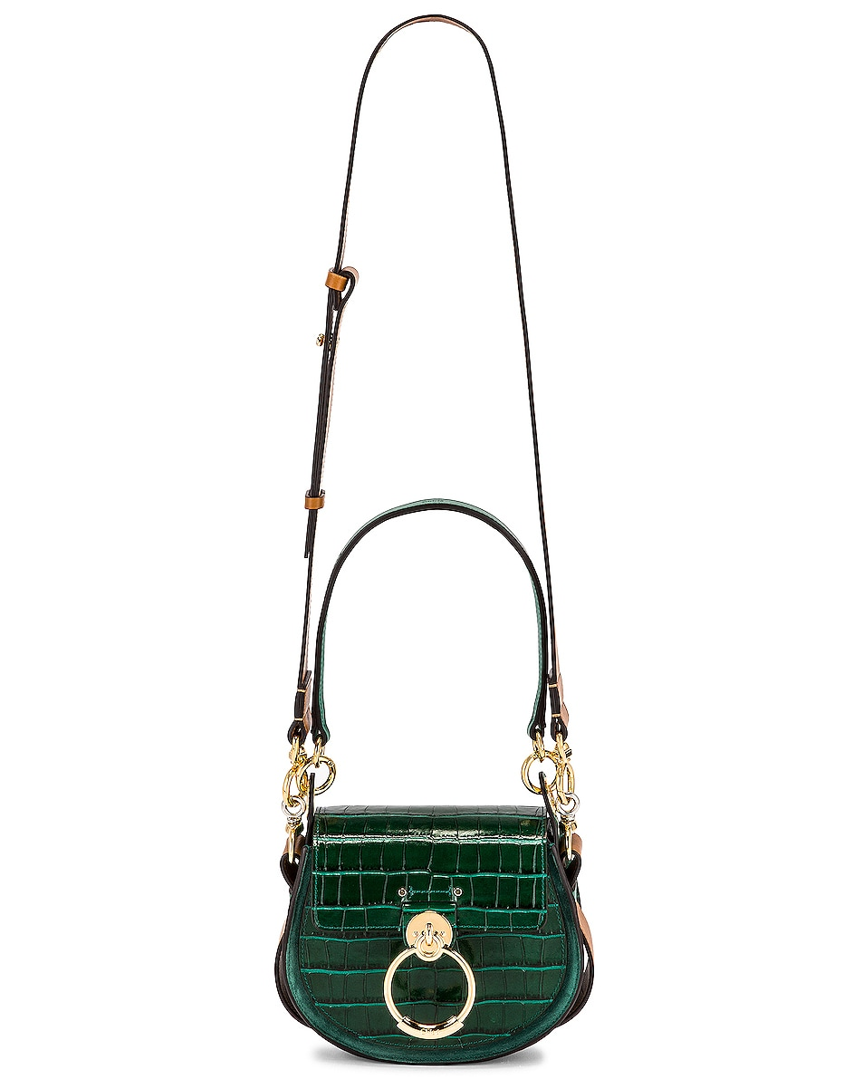 Image 6 of Chloe Small Tess Embossed Croc Shoulder Bag in Woodsy Green