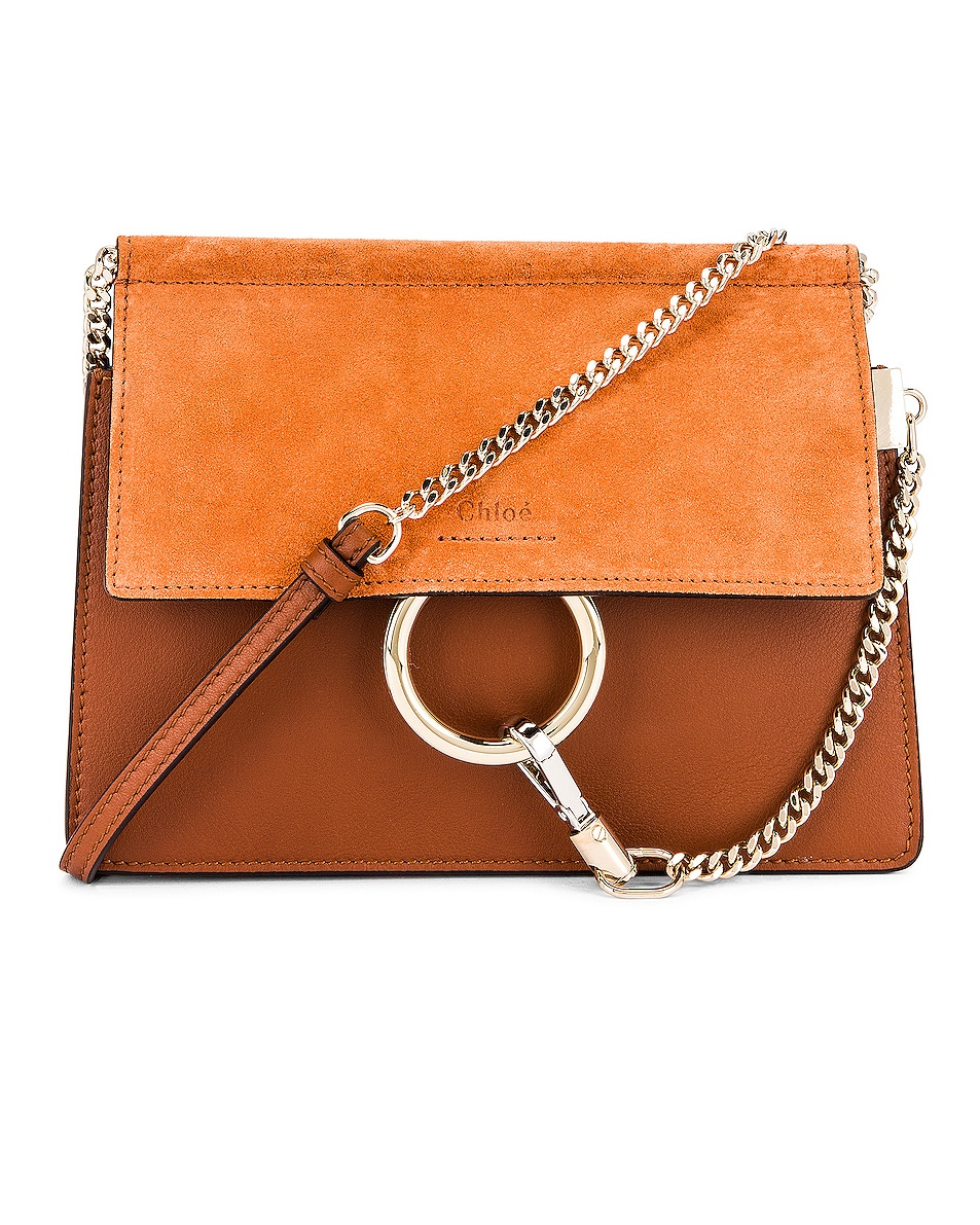Image 1 of Chloe Mini Faye Shoulder Bag in Classic Tobacco