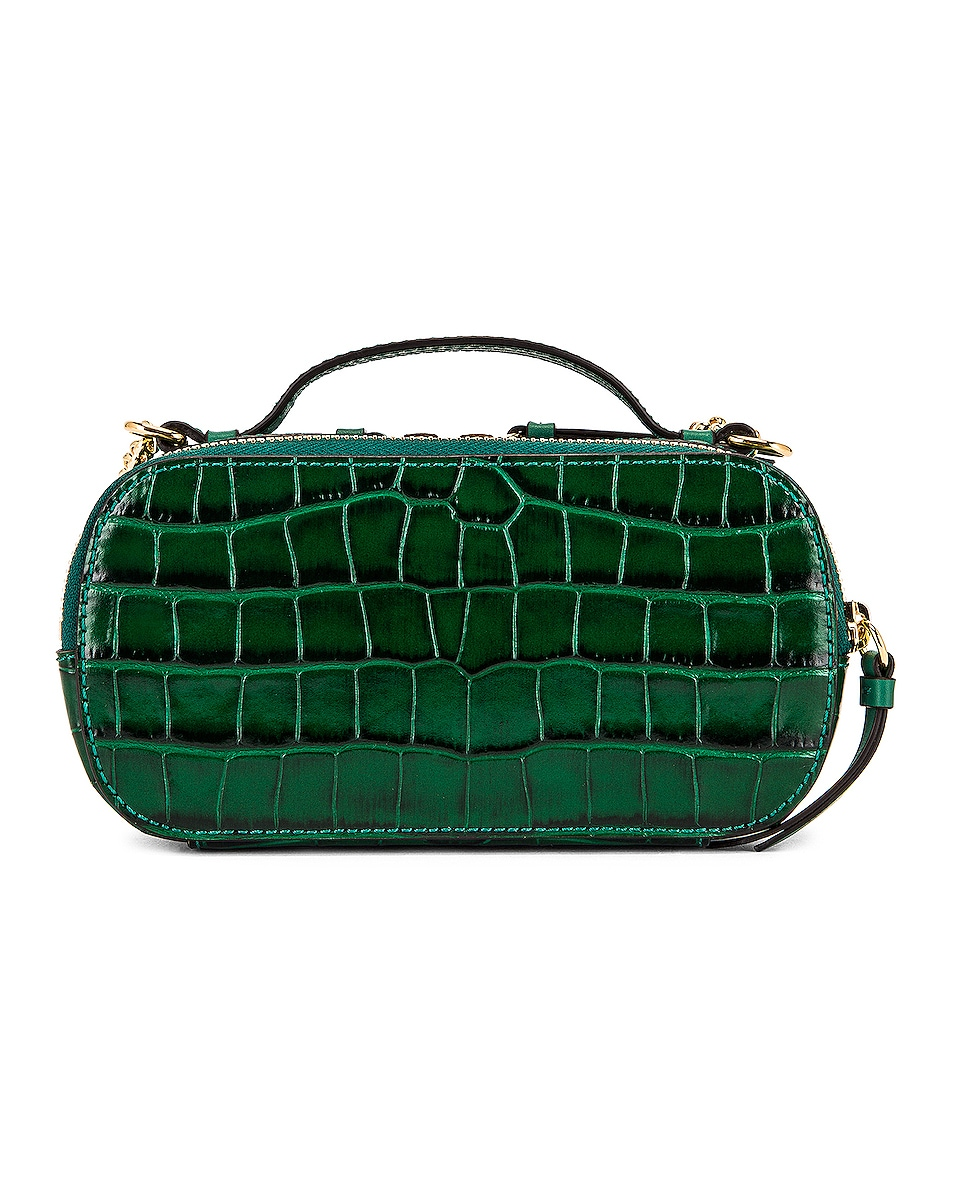 Image 3 of Chloe Mini C Embossed Croc Vanity Bag in Woodsy Green