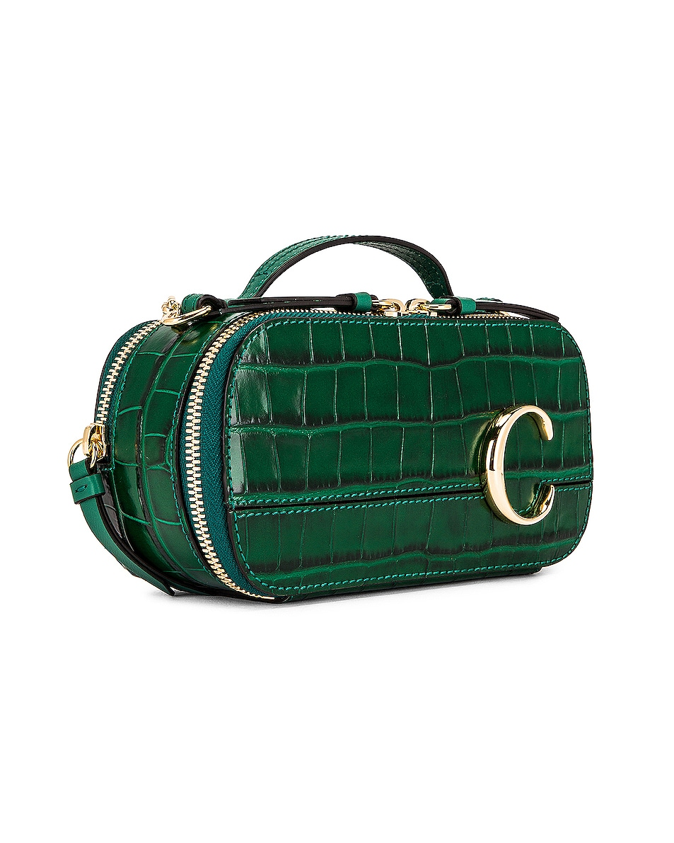 Image 4 of Chloe Mini C Embossed Croc Vanity Bag in Woodsy Green
