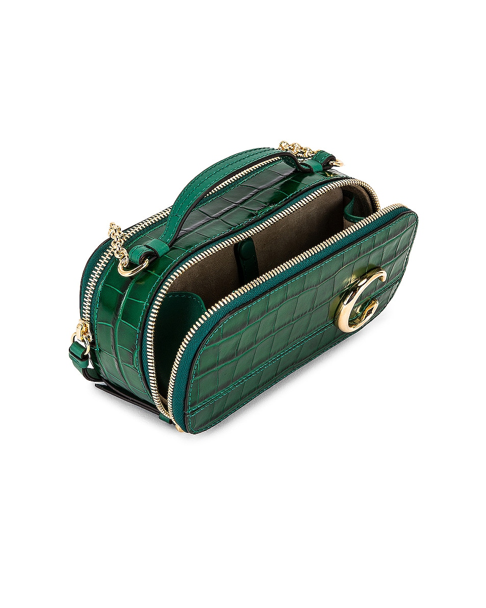Image 5 of Chloe Mini C Embossed Croc Vanity Bag in Woodsy Green