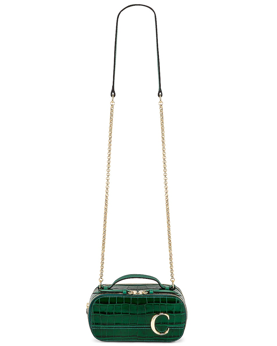 Image 6 of Chloe Mini C Embossed Croc Vanity Bag in Woodsy Green