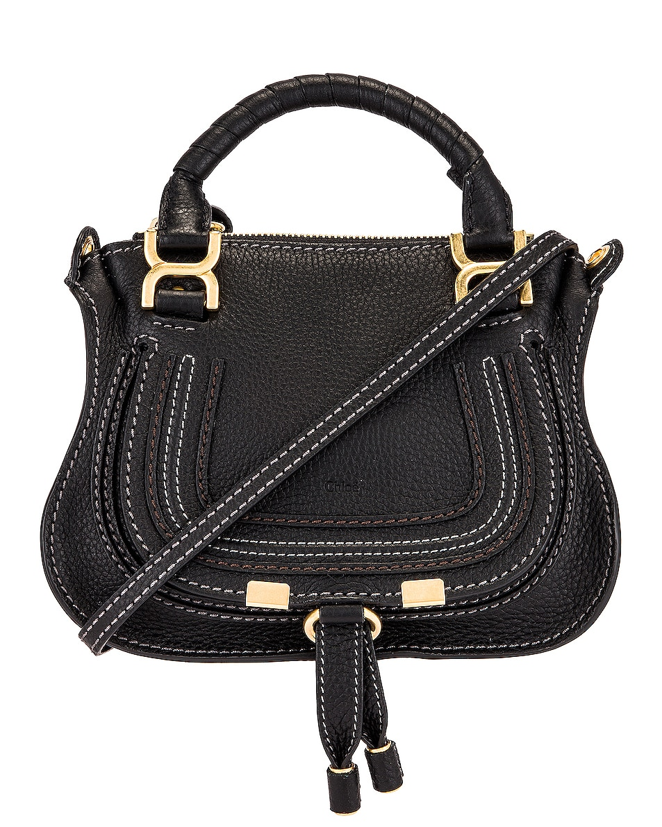 Image 1 of Chloe Mini Marcie Double Carry Bag in Black