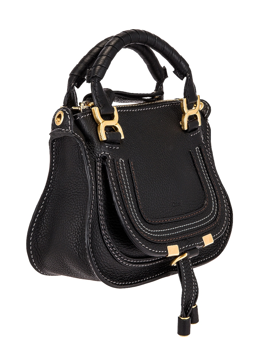 Image 4 of Chloe Mini Marcie Double Carry Bag in Black