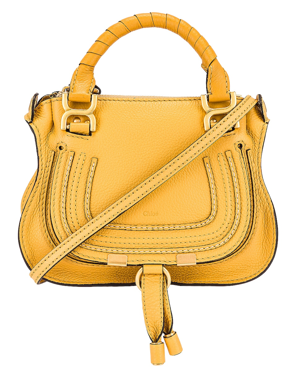 Image 1 of Chloe Mini Marcie Double Carry Bag in Honey Gold