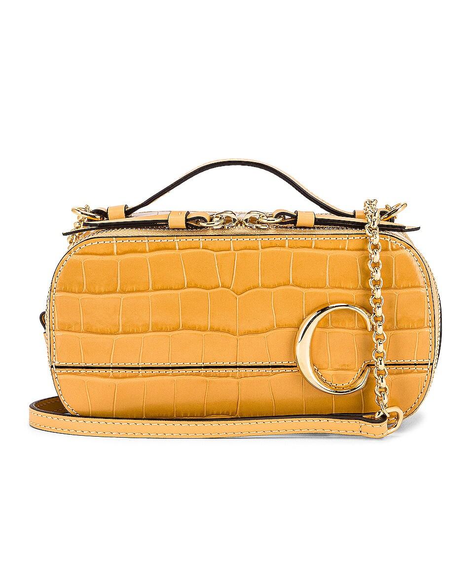 Image 1 of Chloe Mini Embossed Croc Vanity Bag in Honey Gold