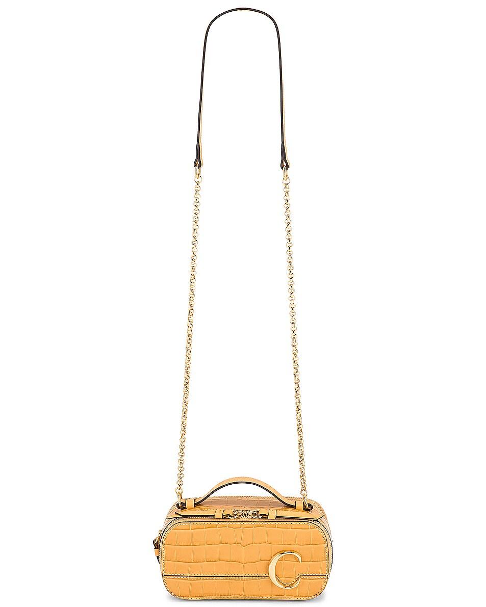 Image 6 of Chloe Mini Embossed Croc Vanity Bag in Honey Gold