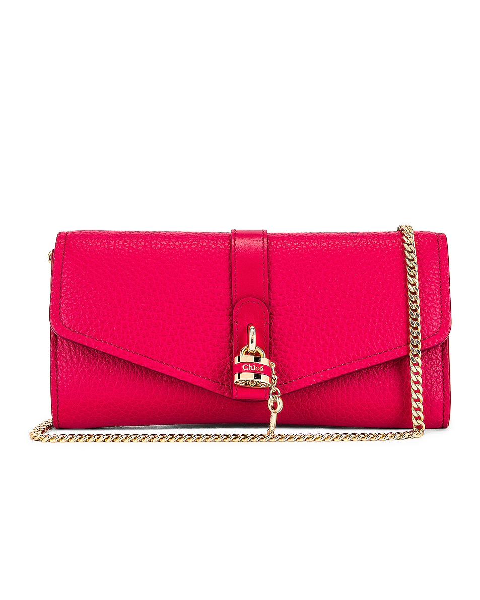 Image 1 of Chloe Aby Wallet on Chain Bag in Crimson Pink