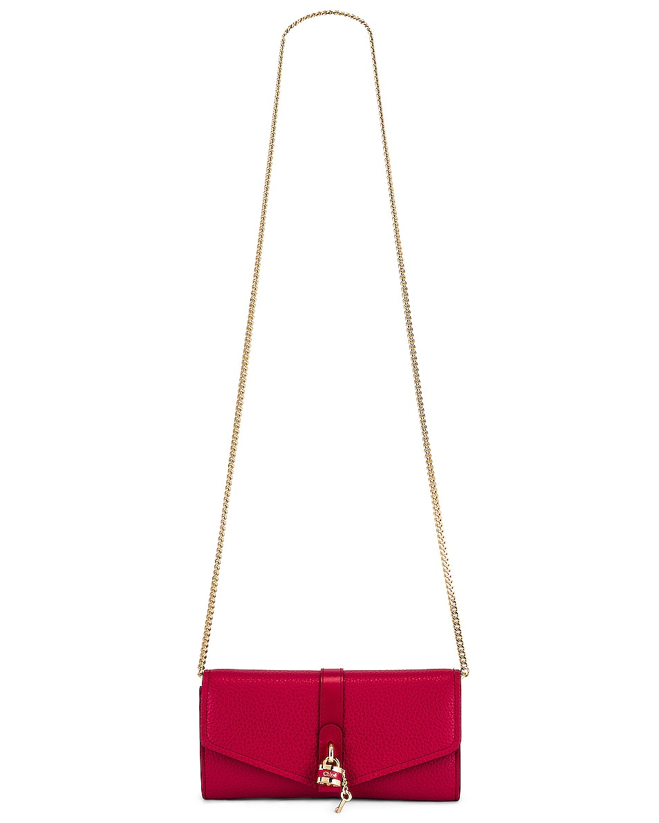 Image 6 of Chloe Aby Wallet on Chain Bag in Crimson Pink