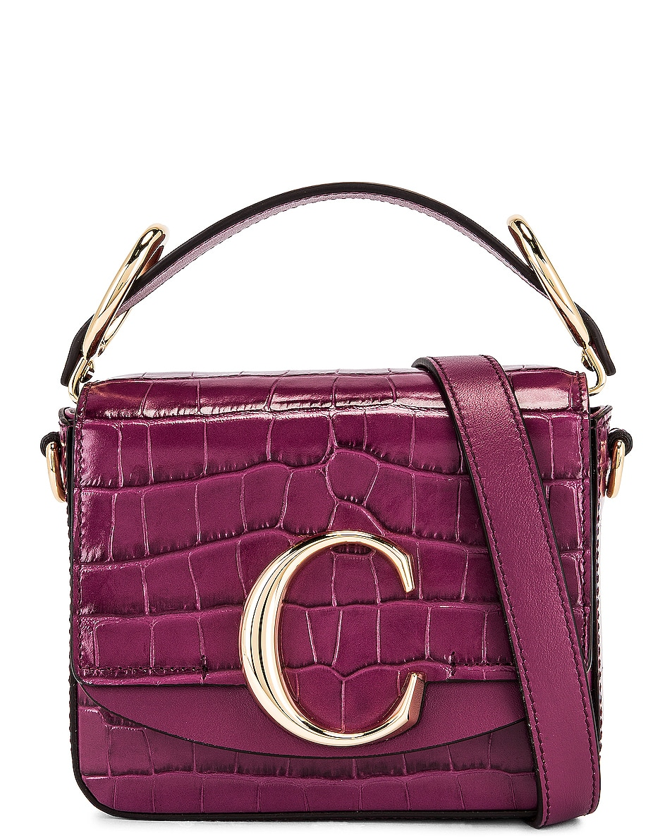 Image 1 of Chloe Mini Chloe C Embossed Croc Box Bag in Crushed Violet