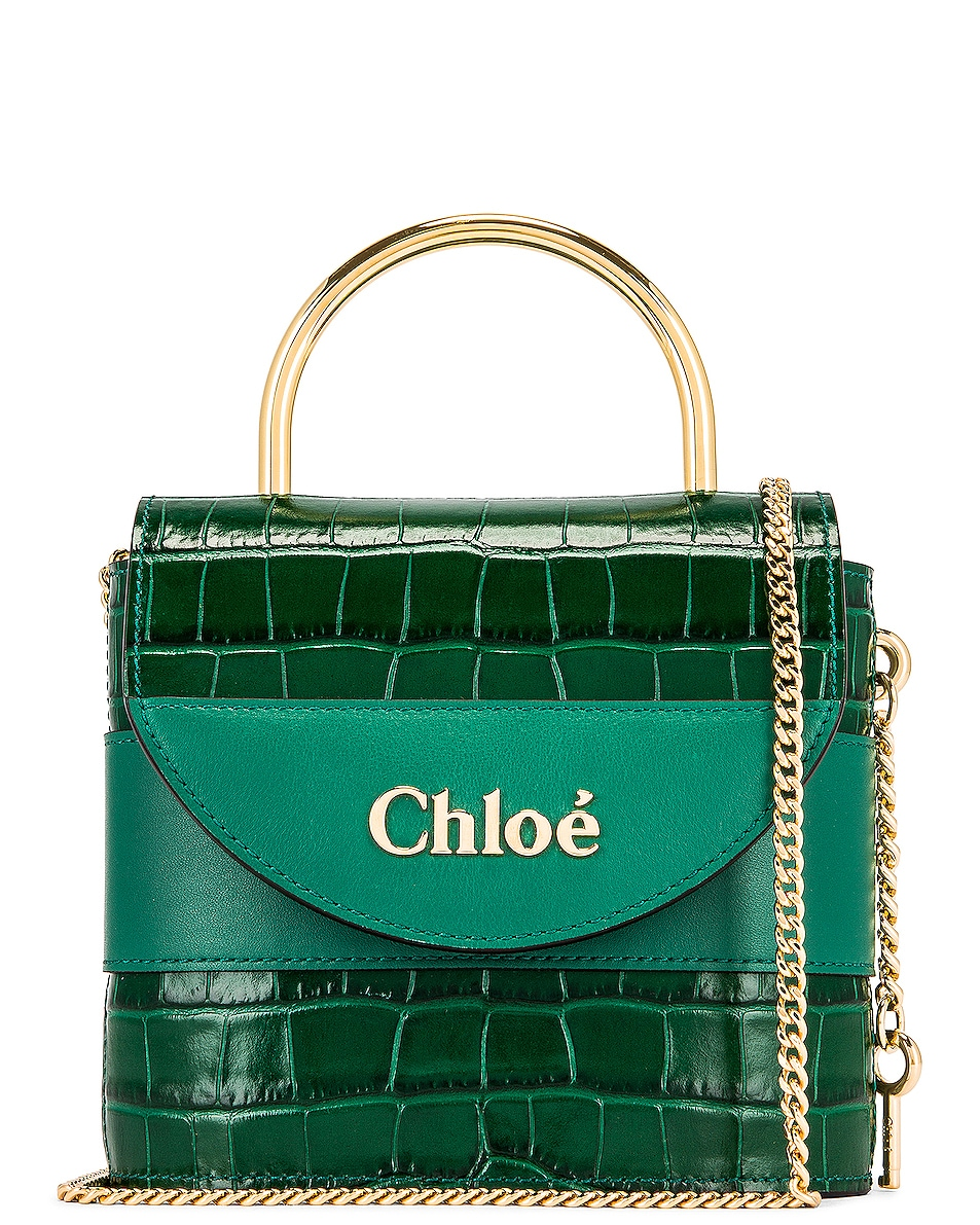 Image 1 of Chloe Small Abylock Embossed Croc Padlock Bag in Woodsy Green