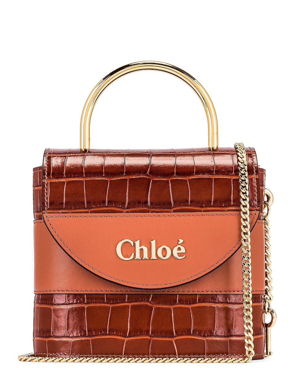 Image 1 of Chloe Small Abylock Embossed Croc Padlock Bag in Chestnut Brown