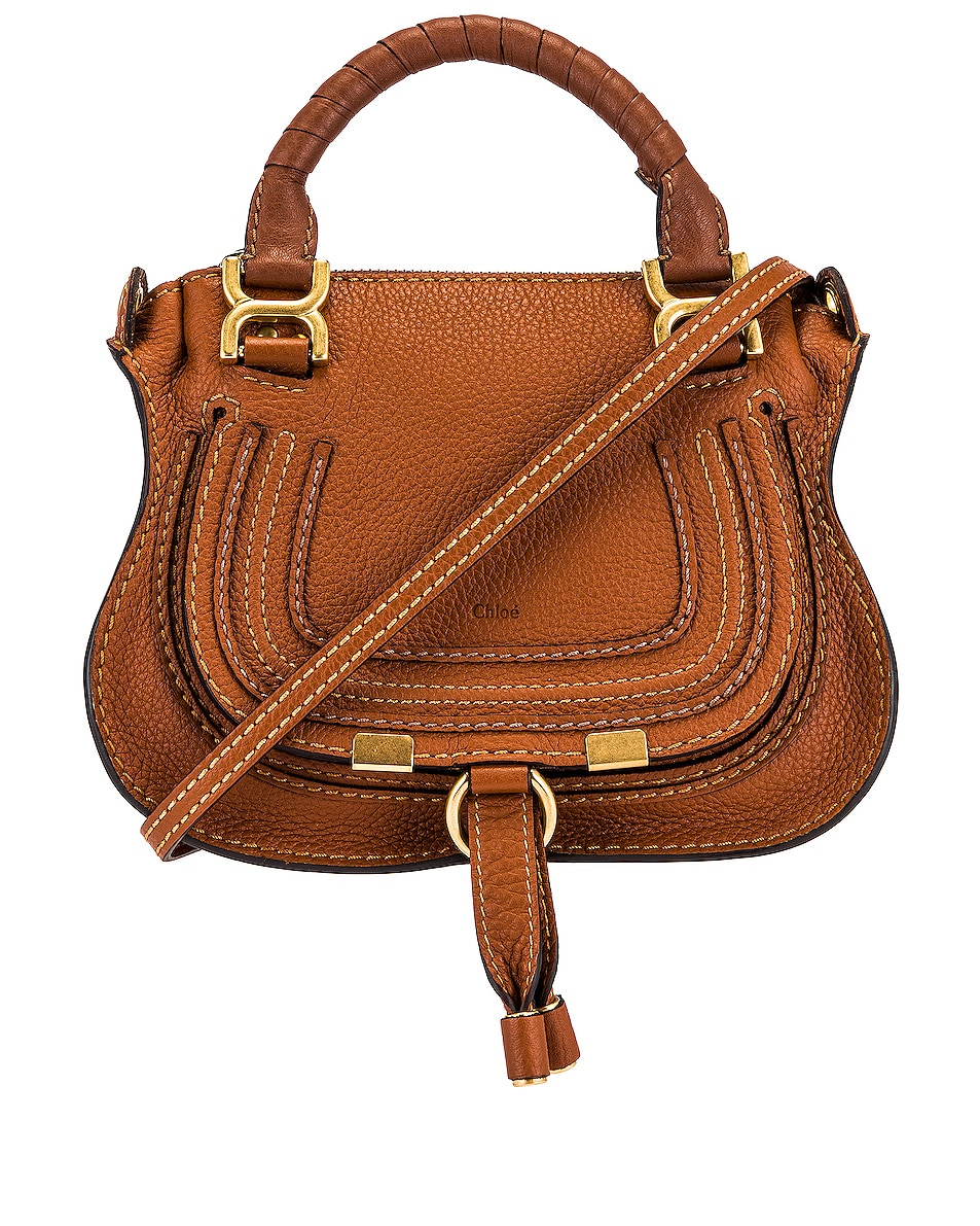 Image 1 of Chloe Mini Marcie Double Carry Bag in Tan