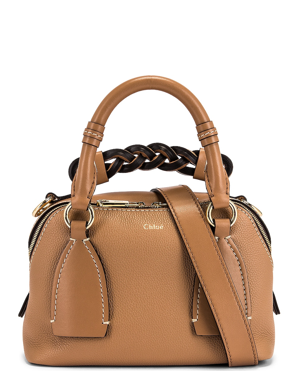 Image 1 of Chloe Small Daria Leather Day Bag in Cement Brown