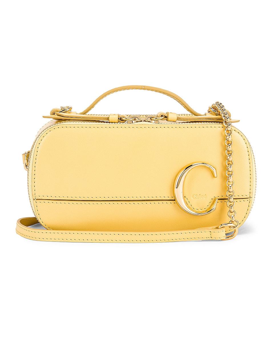 Image 1 of Chloe Mini Chloe C Vanity Bag in Raffia Green