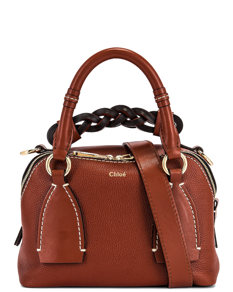 Image 1 of Chloe Small Daria Leather Day Bag in Sepia Brown