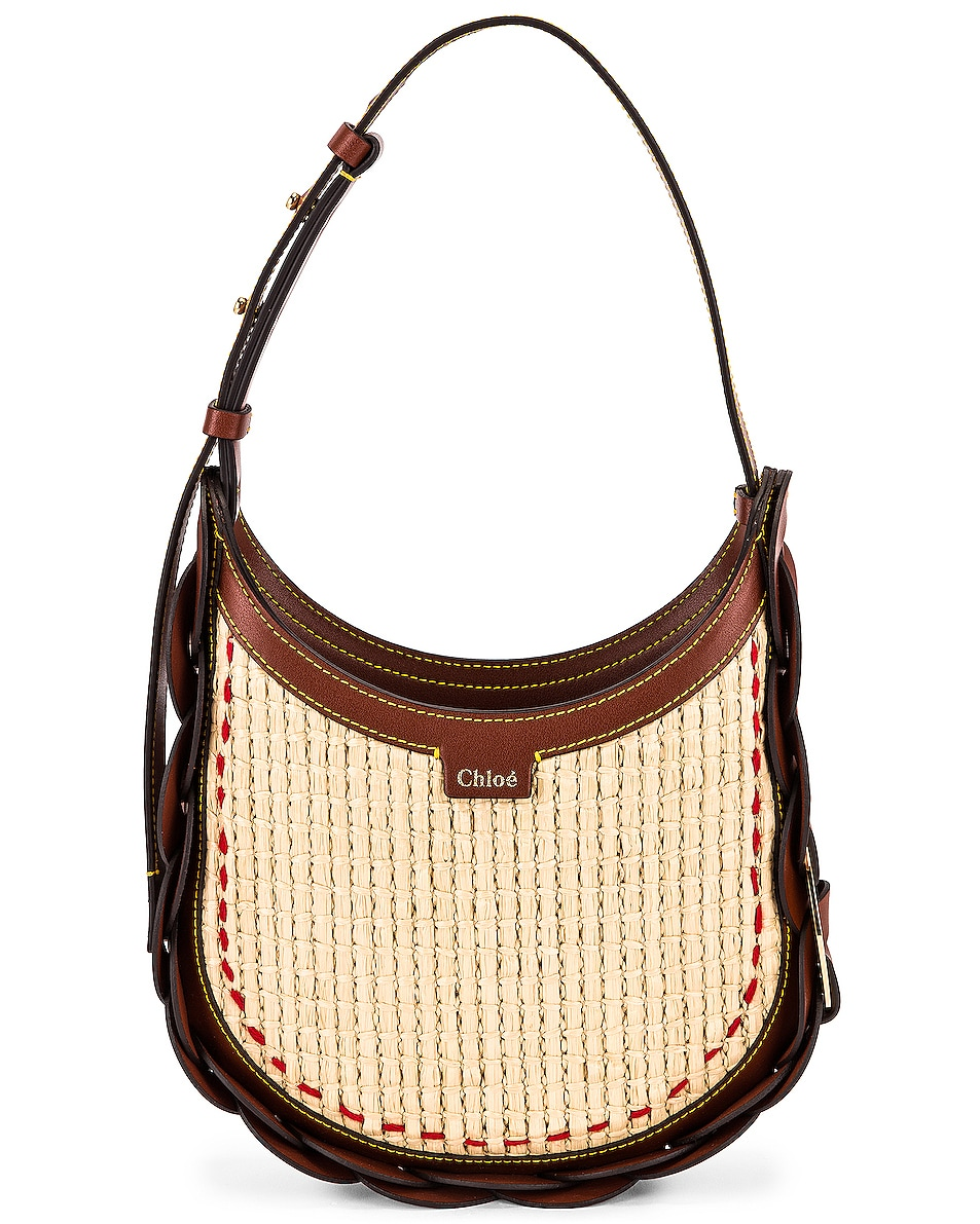 Image 1 of Chloe Small Darryl Raffia Shoulder Bag in Sepia Brown