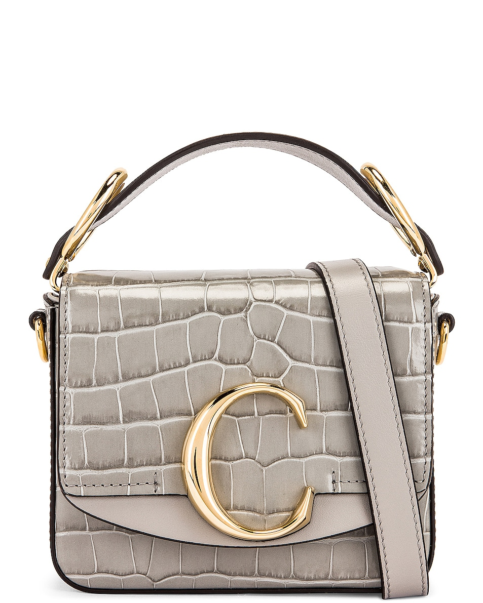 Image 1 of Chloe Mini C Embossed Croc Box Bag in Stormy Grey
