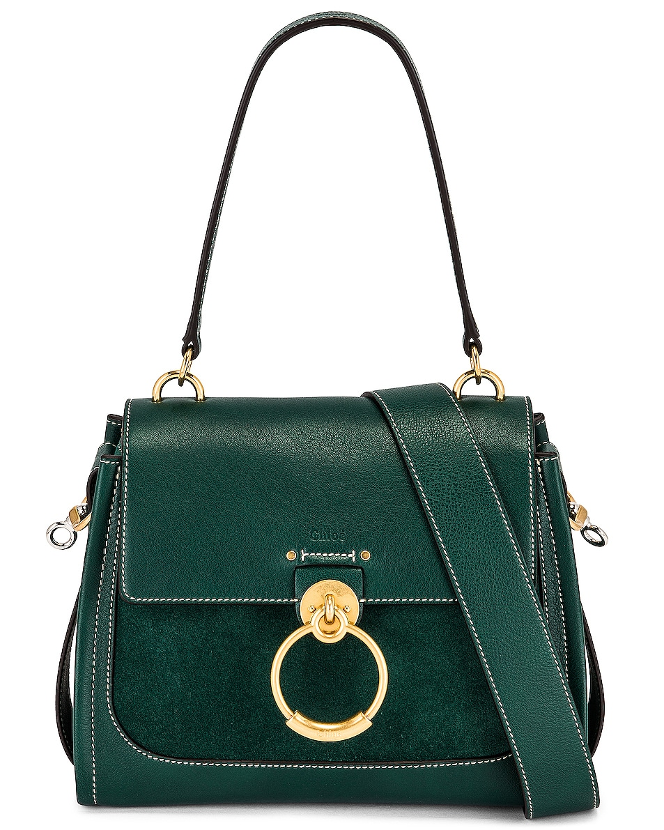 Image 1 of Chloe Small Tess Suede Day Bag in Rain Forest