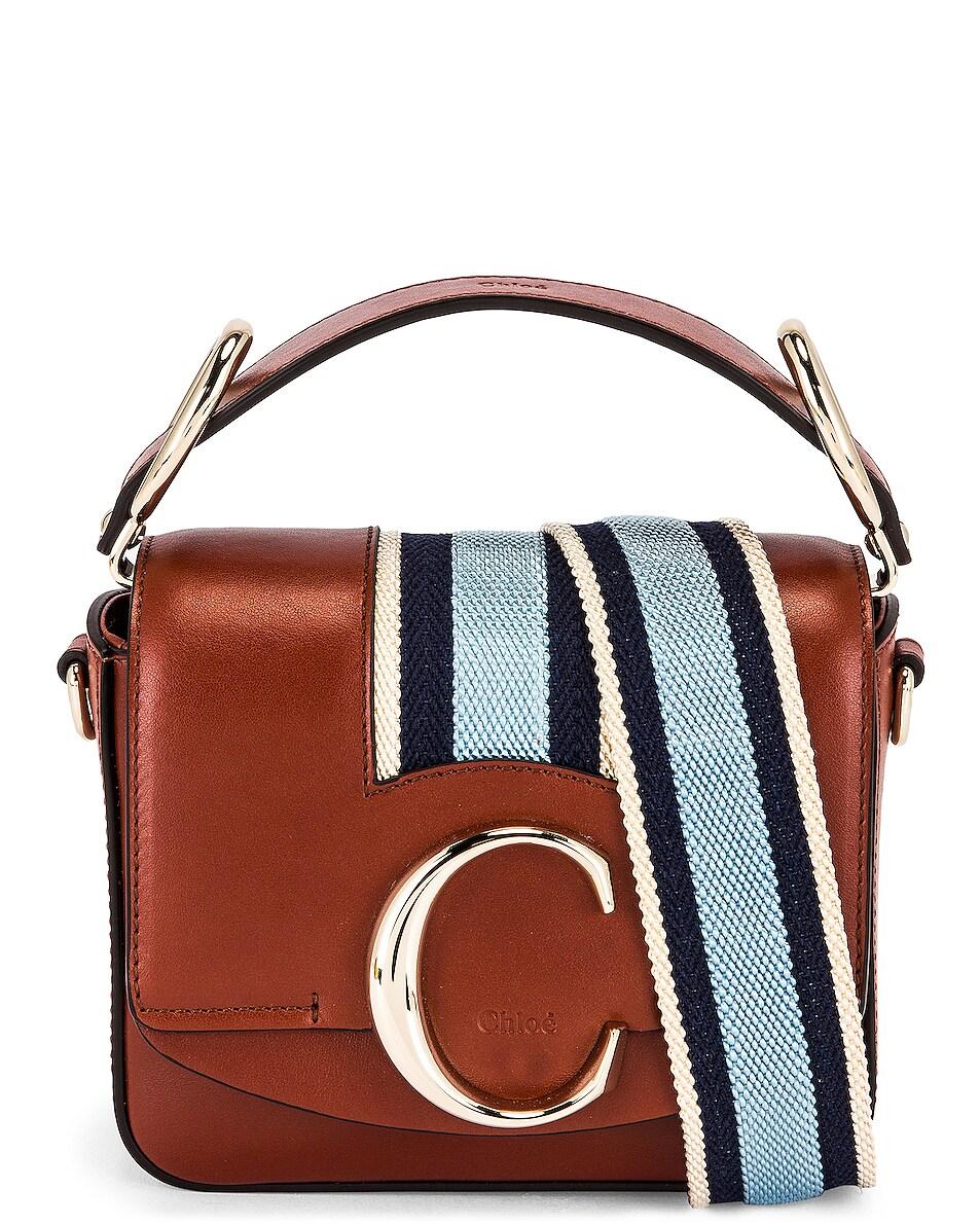 Image 1 of Chloe Mini C Webbing Stripe Box Bag in Sepia Brown