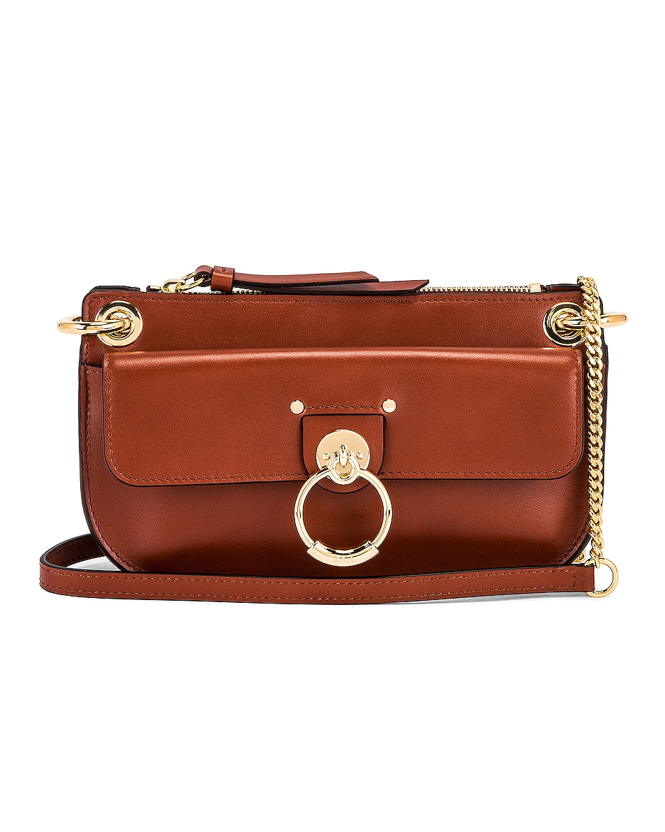 Image 1 of Chloe Mini Tess Crossbody Bag in Sepia Brown