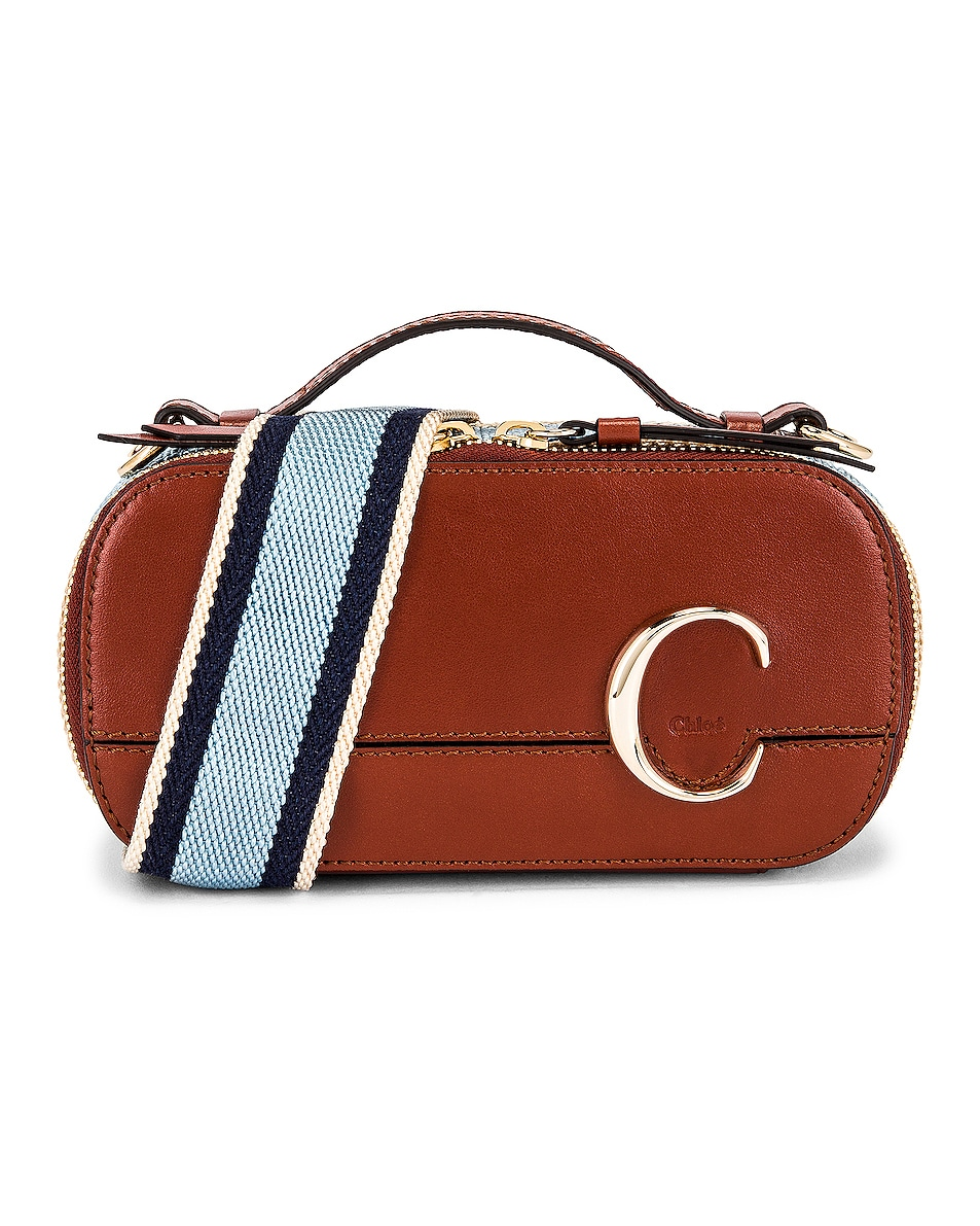 Image 1 of Chloe C Webbing Stripe Vanity Case in Sepia Brown