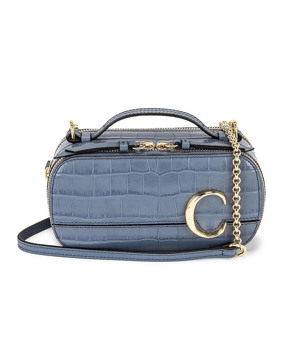 Image 1 of Chloe Mini C Embossed Croc Vanity Bag in Ash Blue