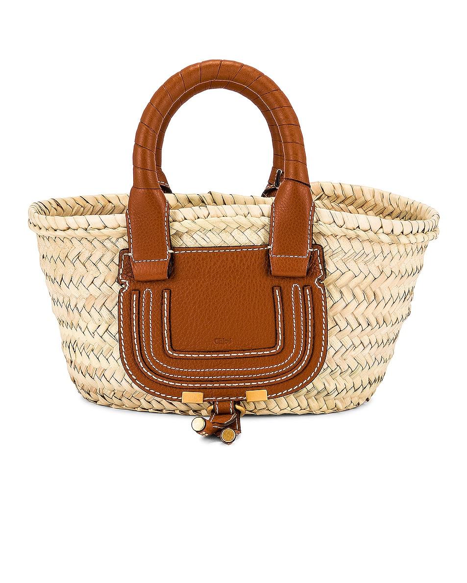 Image 1 of Chloe Mini Marcie Raffia Bag in Tan