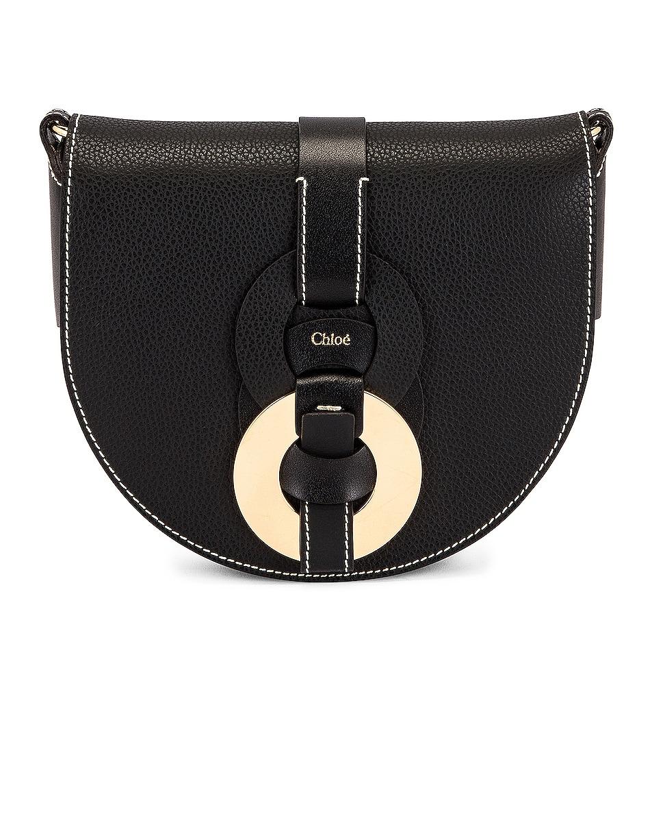Image 1 of Chloe Darryl Saddle Crossbody Bag in Black