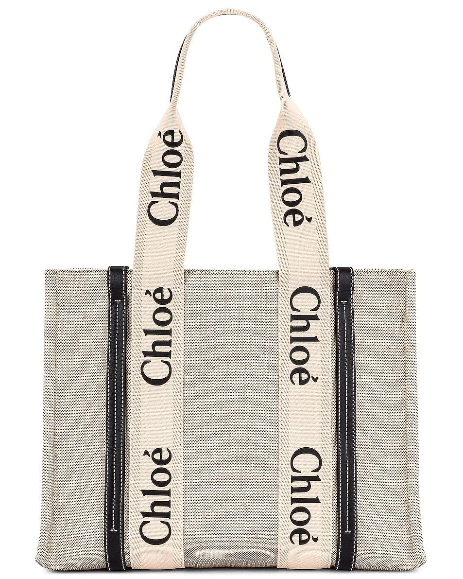 Image 1 of Chloe Medium Woody Tote Bag in White & Blue